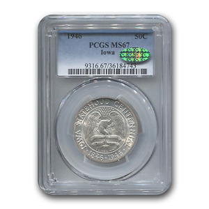 Click now to see the BUY IT NOW Price! 1946 IOWA CENTENNIAL HALF DOLLAR MS 67 PCGS CAC   SKU189471
