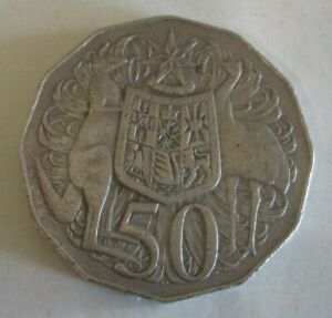1969 KANGAROO & EMU COAT OF ARMS   AUSTRALIAN FIFTY / 50 CENT COIN   CIRCULATED