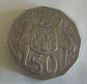 1974 KANGAROO & EMU COAT OF ARMS   AUSTRALIAN FIFTY / 50 CENT COIN   CIRCULATED
