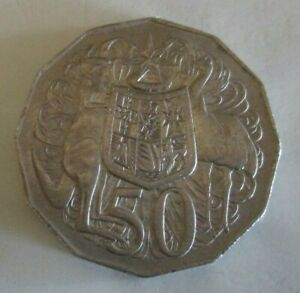 1975 KANGAROO & EMU COAT OF ARMS   AUSTRALIAN FIFTY / 50 CENT COIN   CIRCULATED