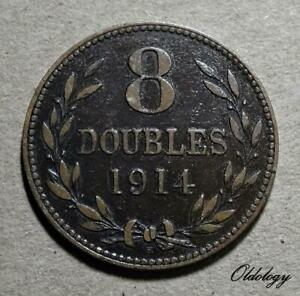GUERNSEY 8 DOUBLES COIN 1914  H  NATIONAL ARMS BRONZE 9.6G KM14 VFINE 558