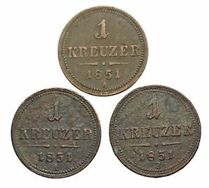 OLD LOT OF 3 COINS FROM GERMAN STATES DATED 1851