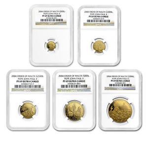 Click now to see the BUY IT NOW Price! 2004 MALTA GOLD 5 COIN POPE JOHN PAUL II PROOF SET PF 69 NGC   SKU188618