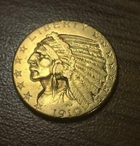 1910D $5.00 INDIAN HEAD GOLD HALF EAGLE LOW MINTAGE  NEAR PERFECT