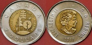 BRILLIANT UNCIRCULATED 2011 CANADA BOREAL FOREST 2 DOLLARS FROM MINT'S ROLL