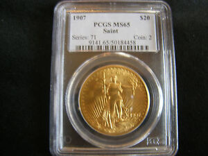 1907 FLAT RELIEF MS 65 $20.00 GOLD SAINT GAUDENS DOUBLE EAGLE PCGS CERTIFIED