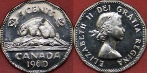 PROOF LIKE 1960 CANADA 5 CENTS FROM MINT'S SET TONED