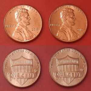 BRILLIANT UNCIRCULATED 2010 US P & D LINCOLN 1 CENTS FROM MINT'S ROLLS