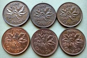 LOT OF 6 1959 64 CANADA NICE 1 CENTS YOUNG QUEEN ELIZABETH PENNIES EXACT COINS