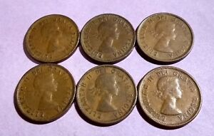 LOT OF 6 1953 58 CANADA NICE 1 CENTS YOUNG QUEEN ELIZABETH PENNIES EXACT COINS