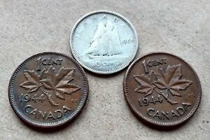 LOT OF 3 1944 CANADA SILVER DIME 10 CENTS & 2 PENNIES KING GEORGE EXACT COINS