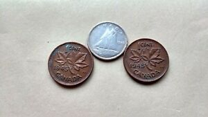 LOT OF 3 1945 CANADA SILVER DIME 10 CENTS & 2 PENNIES KING GEORGE EXACT COINS