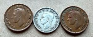 LOT OF 3 1946 CANADA SILVER DIME  2 PENNIES 10 CENT KING GEORGE EXACT COINS