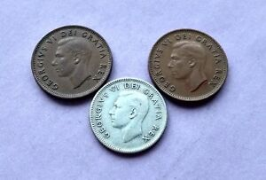 LOT OF 3 1950 CANADA SILVER DIME 10 CENTS & 2 PENNIES KING GEORGE EXACT COINS