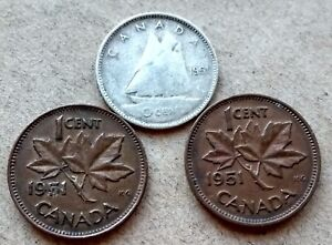 LOT OF 3 1951 CANADA SILVER DIME 10 CENTS & 2 PENNIES KING GEORGE EXACT COINS