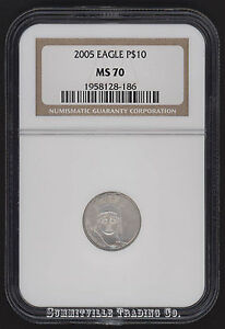 2005 $10 EAGLE PLATINUM STATUE OF LIBERTY NGC MS70 PERFECT GRADE