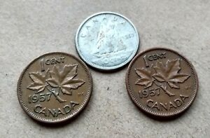 CANADA 1957 SILVER DIME NICE YOUNG QUEEN 10 CENTS  2  PENNIES EXACT COINS