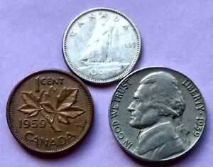 3 CANADA 1959 SILVER DIME 10 CENT NICE GRADE PENNY & US 1959 NICKEL EXACT COINS