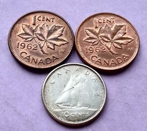 LOT OF 3 CANADA 1962 SILVER DIME NICE YOUNG QUEEN 10 CENTS 2 PENNIES EXACT COINS