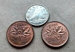LOT OF 3CANADA 1964 SILVER DIME NICE YOUNG QUEEN 10 CENTS  2 PENNIES EXACT COINS