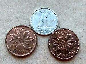 LOT  3 CANADA 1966 SILVER DIME NICE MATURE QUEEN 10 CENTS  2 PENNIES EXACT COINS