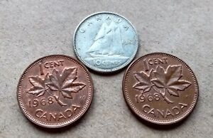 LOT  3 CANADA 1968 SILVER DIME NICE MATURE QUEEN 10 CENTS  2 PENNIES EXACT COINS