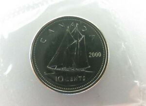 2000 CANADA UNCIRCULATED 10 CENT DIME  NO W OR P  SEALED COIN