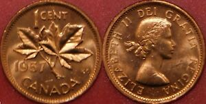 BRILLIANT UNCIRCULATED 1957 CANADA 1 CENT FROM MINT'S ROLL MAYBE TONED