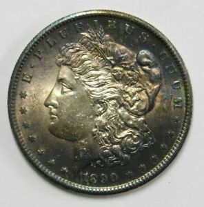 Click now to see the BUY IT NOW Price! 1890 S SAN FRANCISCO MINT SILVER MORGAN DOLLAR GEM BU PURPLE TONING CHECK PICS