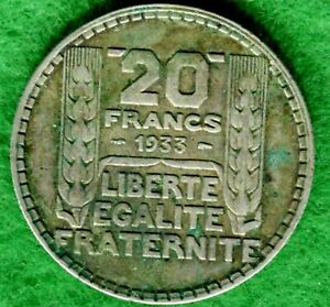 FRANCE 20 FRANCS 1933  KM 879   .680 SILVER    DESIRABLE COLLECTOR QUALITY  FWC