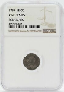 1797 DRAPED BUST HALF DIME H10C NGC VG DETAILS CERTIFIED COIN JB831