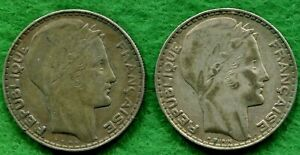 PAIR OF FRANCE SILVER 20 FRANC COINS BOTH 1933   KM 879   GREAT VALUE   FWC