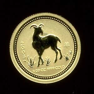 2003 AUSTRALIAN LUNAR $5 GOLD 1/20TH OZ YEAR OF THE GOAT     SERIES I