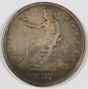 UNITED STATES 1877  P  $1 TRADE DOLLAR SILVER COIN VG/FINE PHILADELPHIA MINT