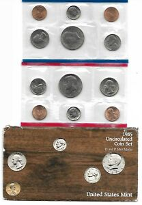 1985 P D U.S. MINT SET OF 10 TOTAL US COINS UNCIRCULATED IN ORIGINAL MINT PACK