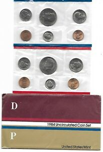 1984 P D U.S. MINT SET OF 10 TOTAL US COINS UNCIRCULATED IN ORIGINAL MINT PACK