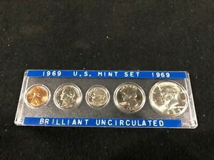 1969 U.S. MINT SET BRILLIANT UNCIRCULATED IN SPECIAL HOLDER PENNY NICKEL DIME