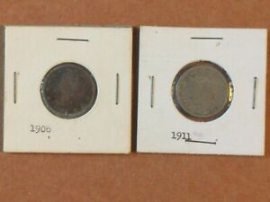 LOT OF 2 LIBERTY V NICKEL 5C FIVE CENT US COIN   1906   1911