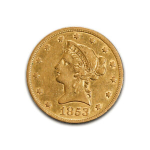 Click now to see the BUY IT NOW Price! $10 GOLD LIBERTY 1853