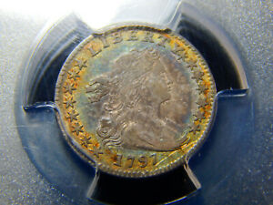 1797 H10C DRAPED BUST HALF DIME 15 STARS VF 30 PCGS REALLY NICE TONING