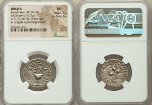 Click now to see the BUY IT NOW Price! JUDAEA. THE JEWISH WAR  AD 66 70 . AR SHEKEL  23MM 14.21 GM 11H . NGC AU
