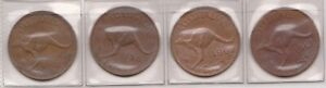 H145 3  1961 TO 64 AU 4 ONE PENNY COINS  C