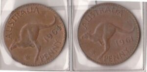 H144 16  1961 64 AU ONE PENNY COINS  P