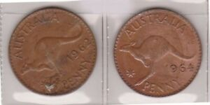 H144 18  1962 64 AU ONE PENNY COINS  R