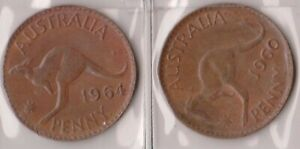 H144 27  1960 64 AU ONE PENNY COINS  AB
