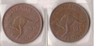 H144 25  1961 64 AU ONE PENNY COINS  Y