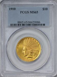 1910 GOLD $10 INDIAN EAGLE PCGS MS65    IN GEM