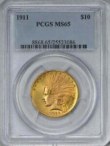 1911 GOLD $10 INDIAN EAGLE PCGS MS65   QUITE