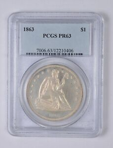 PR63 1863 SEATED LIBERTY SILVER DOLLAR   GRADED PCGS  0772