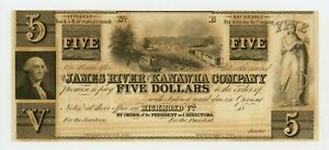 1800'S $5 THE JAMES RIVER AND KANAWHA COMPANY   RICHMOND VIRGINIA NOTE AU